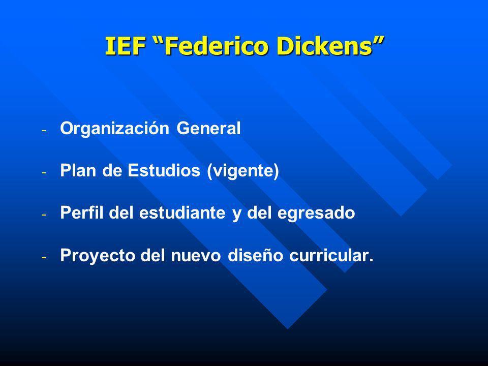 IEF Federico Dickens - - Organización General - - Plan de Estudios (vigente) - - Perfil del estudiante y del egresado - - Proyecto del nuevo diseño cu