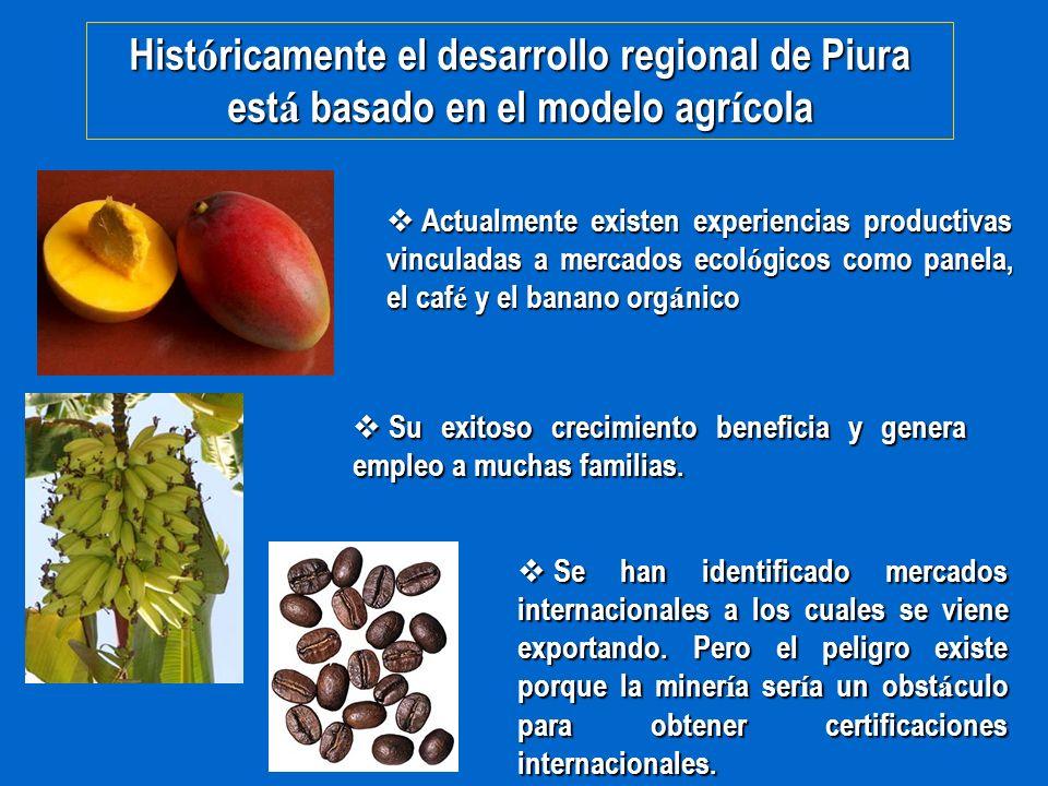 Hist ó ricamente el desarrollo regional de Piura est á basado en el modelo agr í cola Actualmente existen experiencias productivas vinculadas a mercad