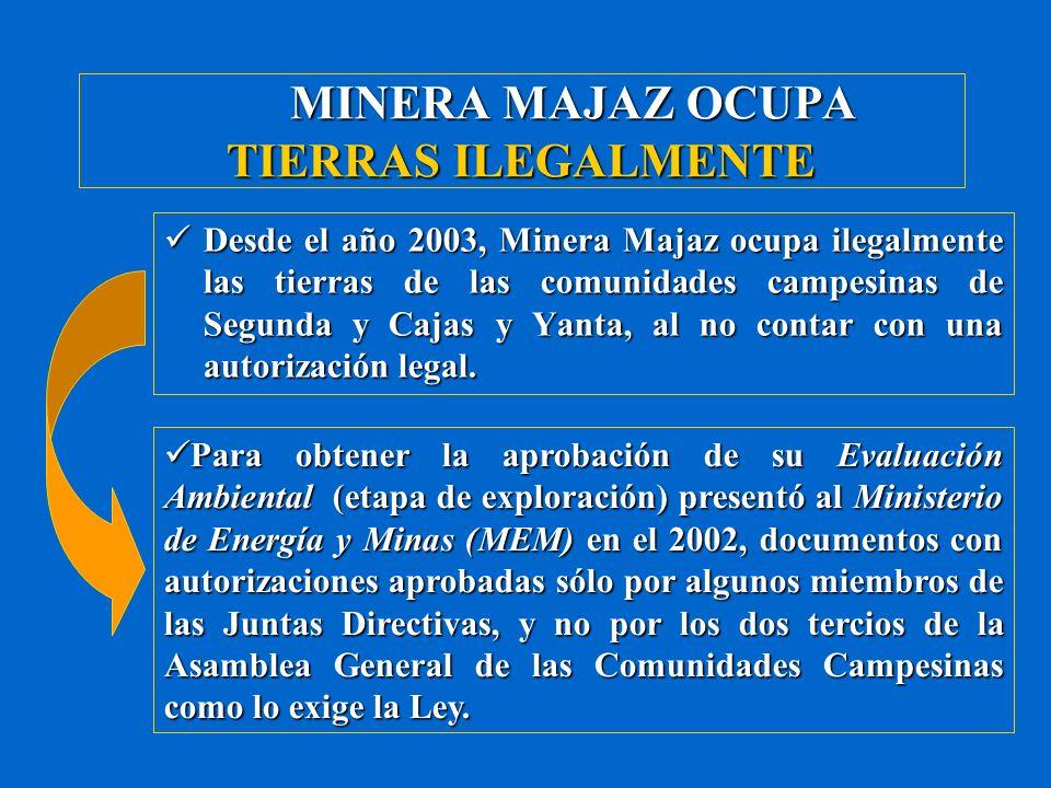 MINERA MAJAZ OCUPA TIERRAS ILEGALMENTE Además, presentó al MEM supuestas actas suscritas por algunos dirigentes y miembros de las Comunidades Campesinas de Segunda y Cajas y Yanta y la empresa Minera Coripacha S.A.