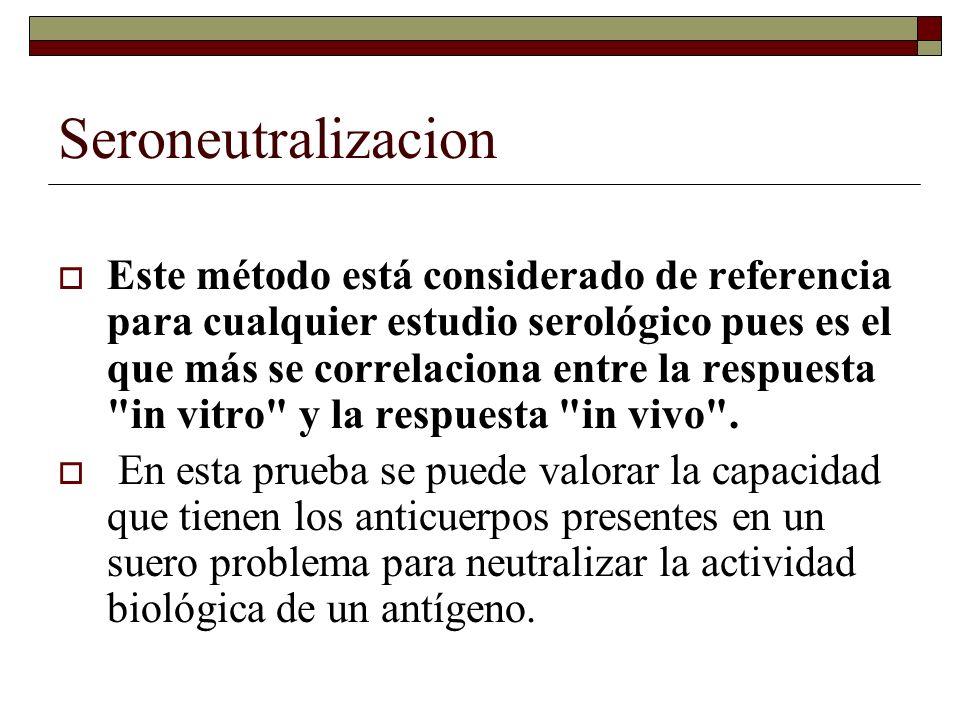 Prueba de Neutralización Son altamente sensibles y especificas.