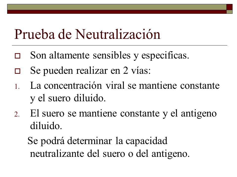 Seroneutralizacion La valoración biológica de la efectividad del proceso se puede realizar sobre cultivos celulares o animales de laboratorio.