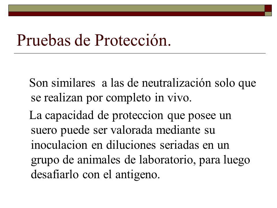 El valor de protección de los sueros se expresa como Dosis Protectiva 50% (DP50%).