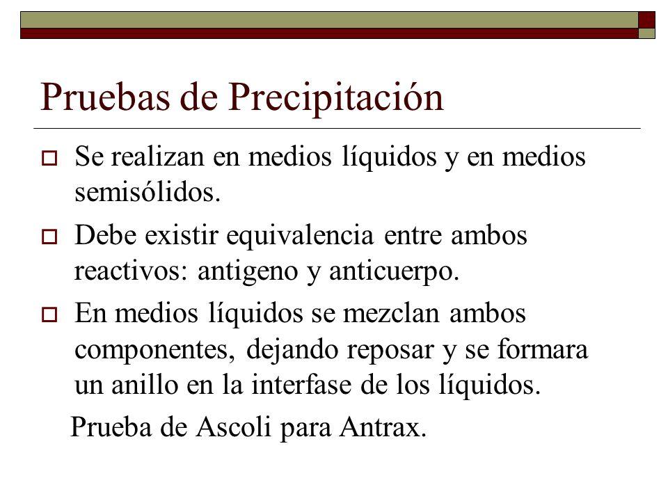 Pruebas de Precipitación.Los medios semisólidos se usan para inmunodifusion o inmunoeletroforesis.