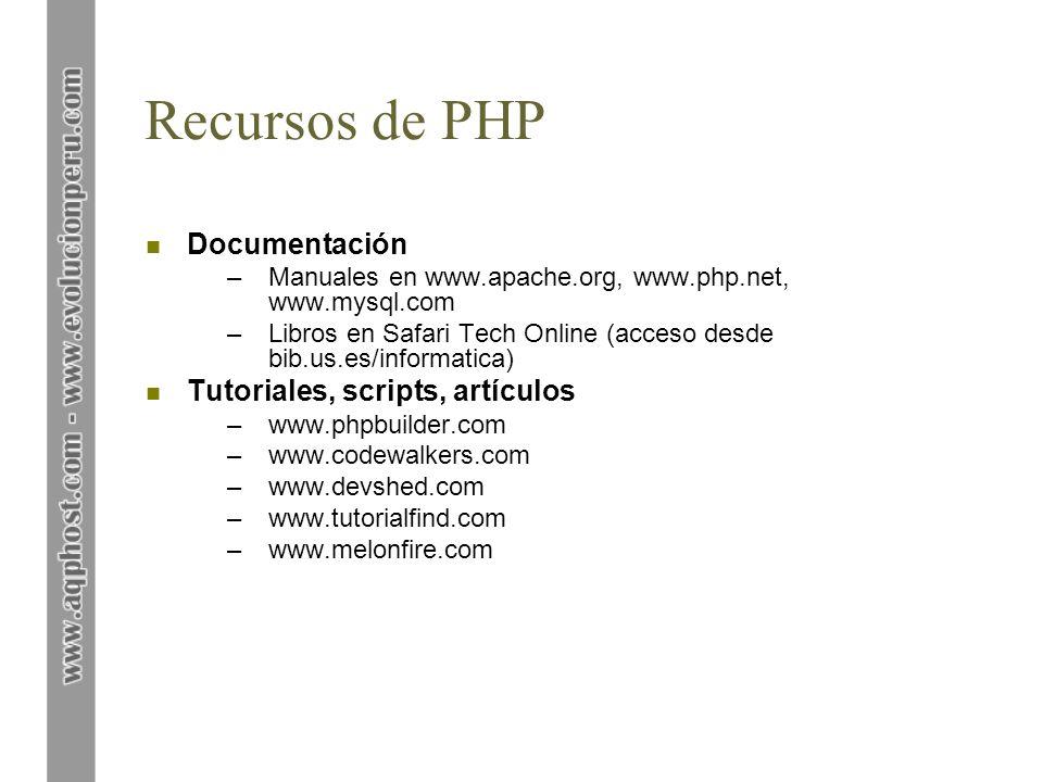 Recursos de PHP n Documentación –Manuales en www.apache.org, www.php.net, www.mysql.com –Libros en Safari Tech Online (acceso desde bib.us.es/informat