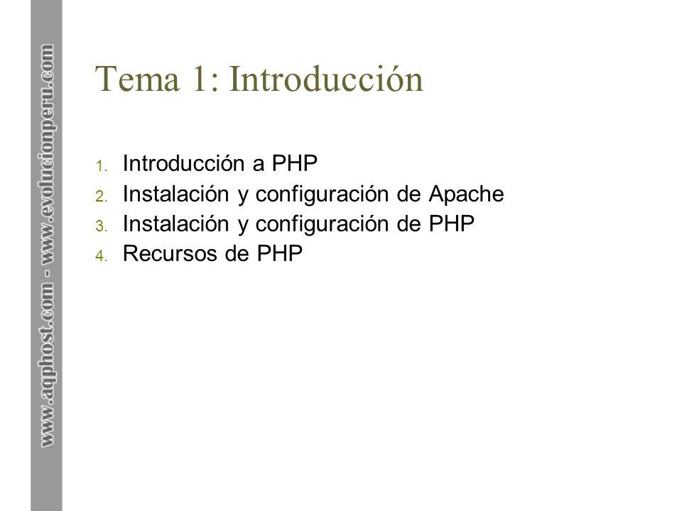 Tema 1: Introducción 1. Introducción a PHP 2. Instalación y configuración de Apache 3. Instalación y configuración de PHP 4. Recursos de PHP