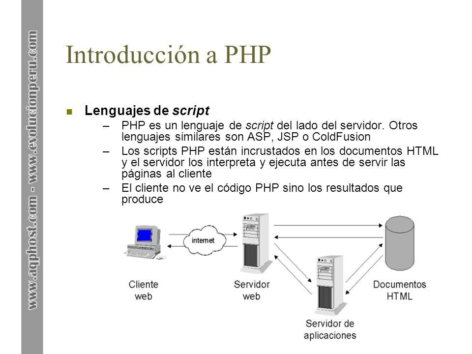 Introducción a PHP n Breve historia de PHP –Creado por Rasmus Lerdorf para uso personal en 1994 –PHP = Personal Hypertext Processor –Versión actual: PHP 4 –Es un módulo que se añade al servidor web y fue concebido inicialmente para Apache n ¿Por qué PHP.