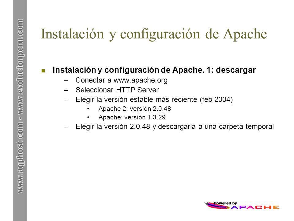 Instalación y configuración de Apache n Instalación y configuración de Apache. 1: descargar –Conectar a www.apache.org –Seleccionar HTTP Server –Elegi