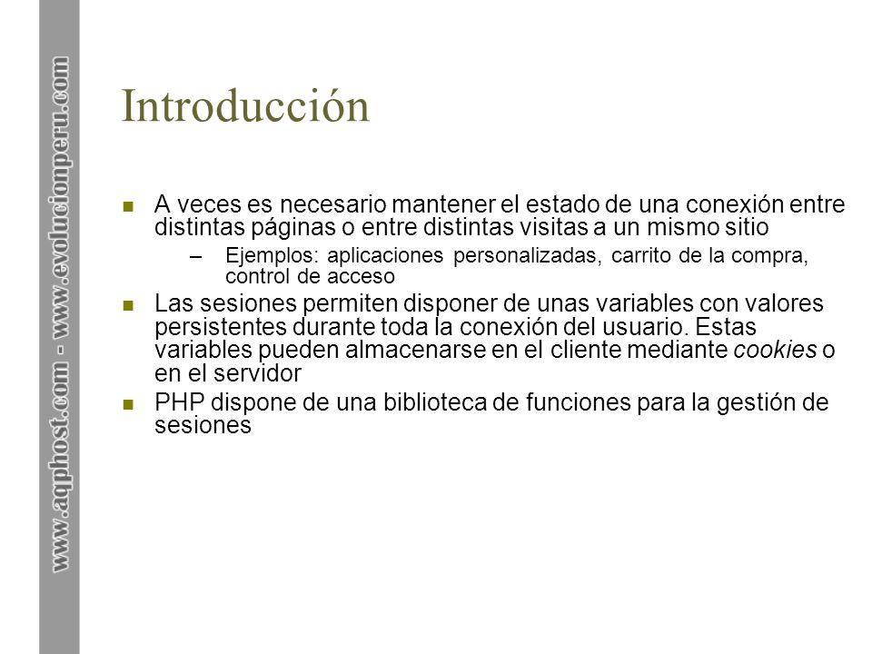 Manejo de sesiones n Funciones de PHP para el manejo de sesiones: –session_start () inicializa una sesión y le asigna un identificador de sesión único.