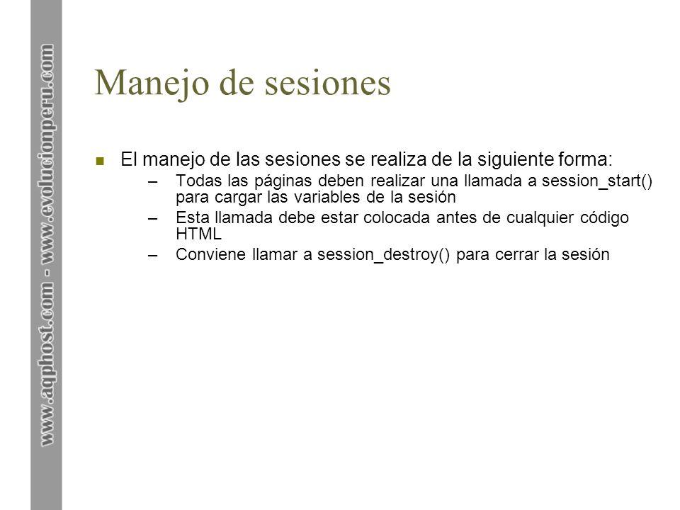 Manejo de sesiones n Ejercicio 1: ejemplo simple de sesiones –Ilustra cómo registrar variables, acceder a ellas y posteriormente eliminarlas