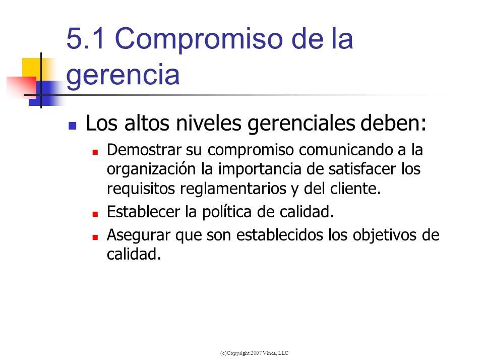 (c)Copyright 2007 Vinca, LLC 5.1Compromiso de la gerencia Los altos niveles gerenciales deben: Demostrar su compromiso comunicando a la organización l