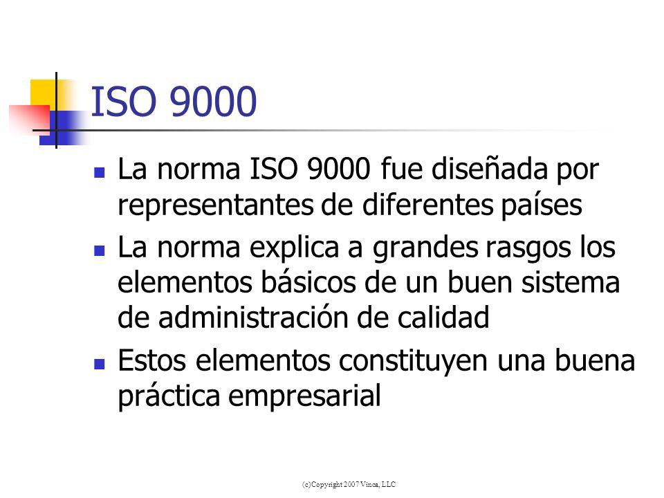 (c)Copyright 2007 Vinca, LLC ISO 9000 La norma ISO 9000 fue diseñada por representantes de diferentes países La norma explica a grandes rasgos los ele