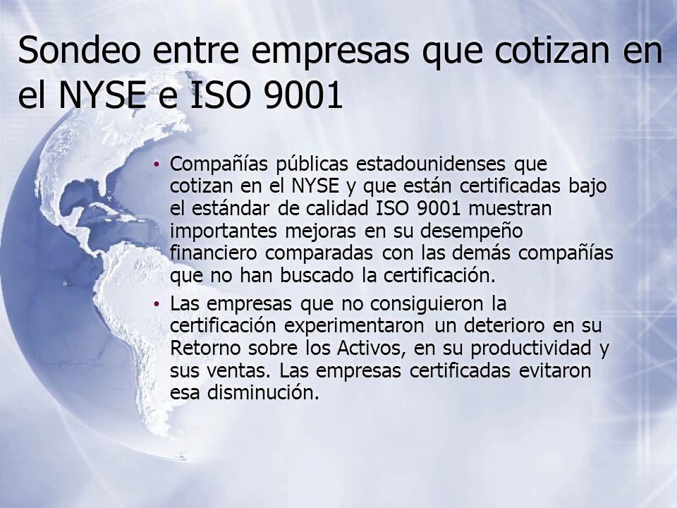 Sondeo entre empresas que cotizan en el NYSE e ISO 9001 Compañías públicas estadounidenses que cotizan en el NYSE y que están certificadas bajo el est