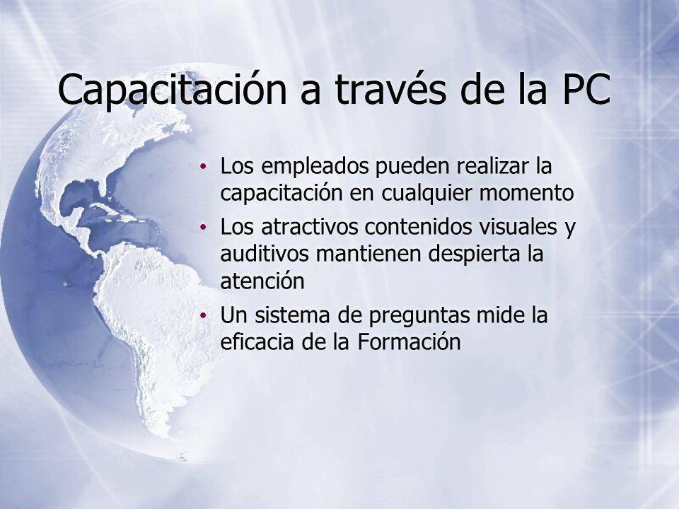 Capacitación a través de la PC Los empleados pueden realizar la capacitación en cualquier momento Los atractivos contenidos visuales y auditivos manti