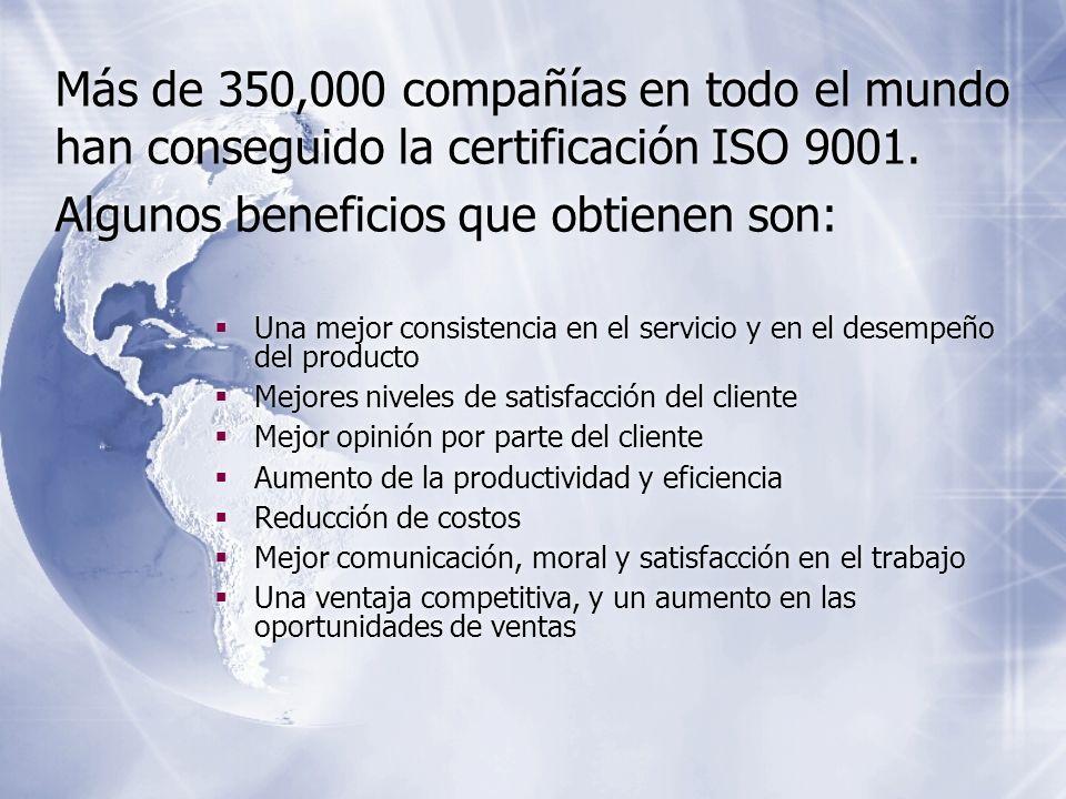 Más de 350,000 compañías en todo el mundo han conseguido la certificación ISO 9001. Algunos beneficios que obtienen son: Una mejor consistencia en el