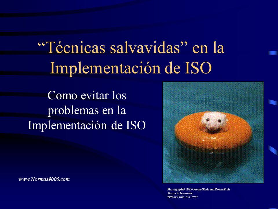 Técnicas salvavidas en la Implementación de ISO Como evitar los problemas en la Implementación de ISO www.Normas9000.com Photograph© 1985 George Siede and Donna Preis Mouse in Innertube ©Palm Press, Inc.
