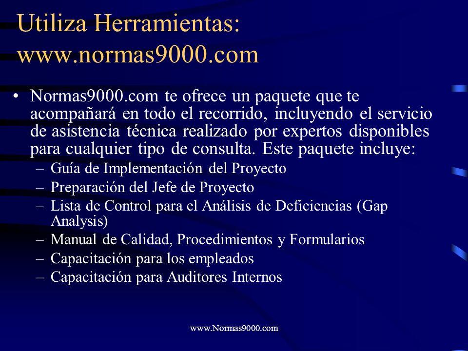 www.Normas9000.com Utiliza un Paquete de Documentación y Capacitación Utiliza instrumentos y recursos aptos para: –Planificar tu proyecto –Interpretar