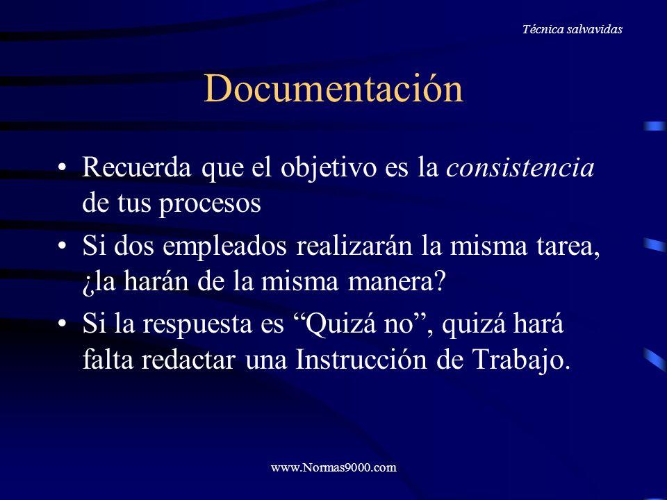 www.Normas9000.com Documentación ¿Demasiada? ¿Demasiado poca? Demasiada si hay: –Instrucciones por escrito para cualquier cosa –Superposición y repeti