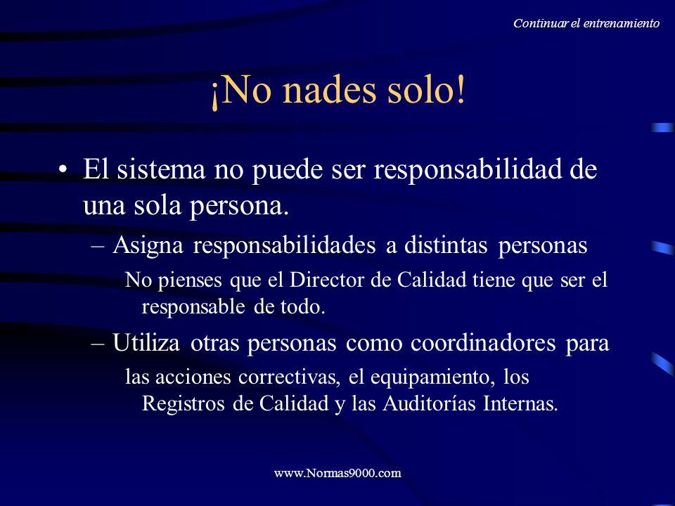 www.Normas9000.com ¡Entrena! Utiliza el sistema que has desarrollado. Implementa acciones correctivas. Enfatiza la importancia de: Acciones Correctiva