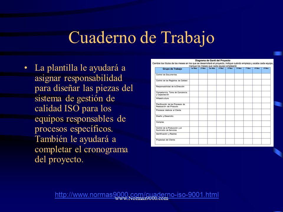 www.Normas9000.com Con esa información a la mano, siga los pasos de la guía para gerentes de proyecto y complete la plantilla del plan de proyecto. La