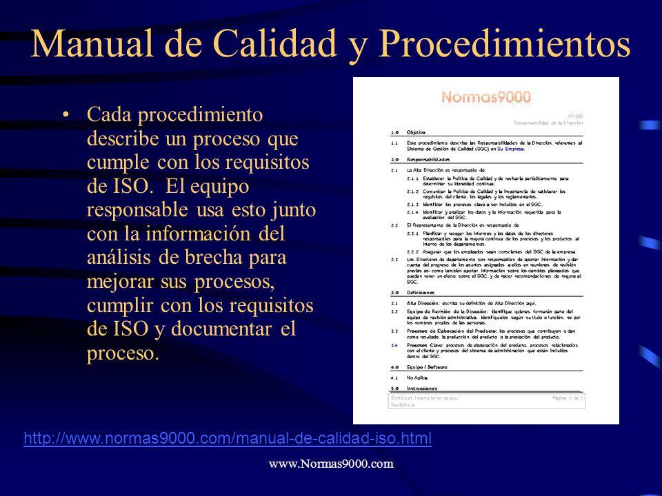 www.Normas9000.com Manual de Calidad y Procedimientos El paso siguiente es el diseño y documentación de los procesos de conformidad de ISO. Nuestro ma