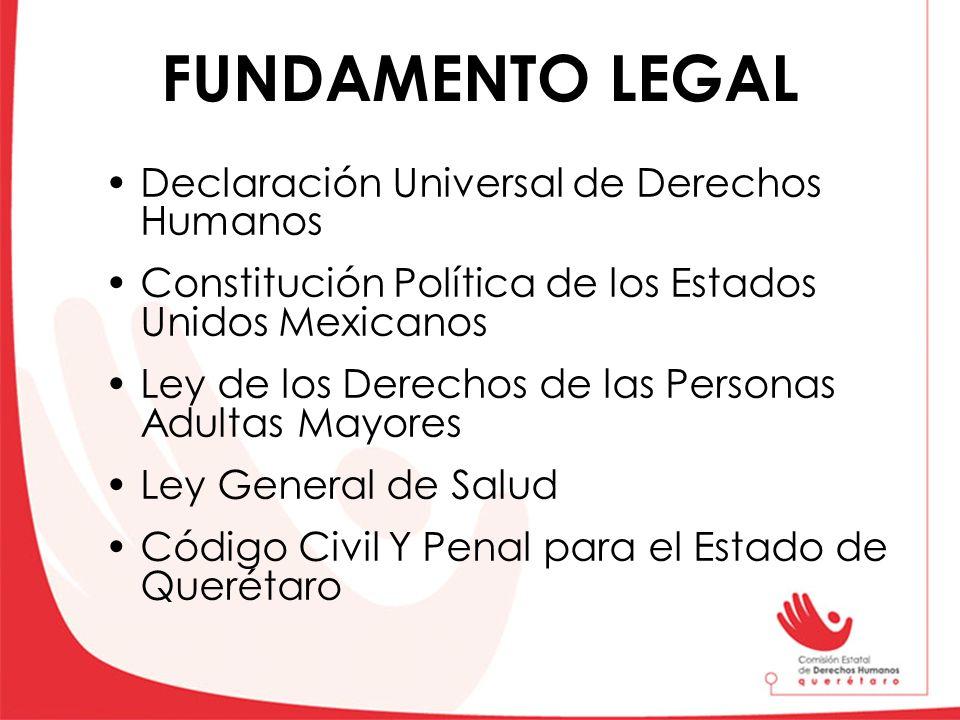 FUNDAMENTO LEGAL Declaración Universal de Derechos Humanos Constitución Política de los Estados Unidos Mexicanos Ley de los Derechos de las Personas A