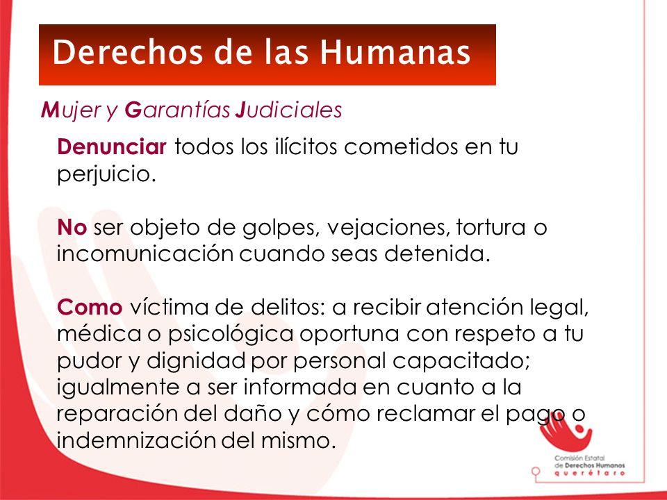 Derechos de las Humanas Denunciar todos los ilícitos cometidos en tu perjuicio. No ser objeto de golpes, vejaciones, tortura o incomunicación cuando s