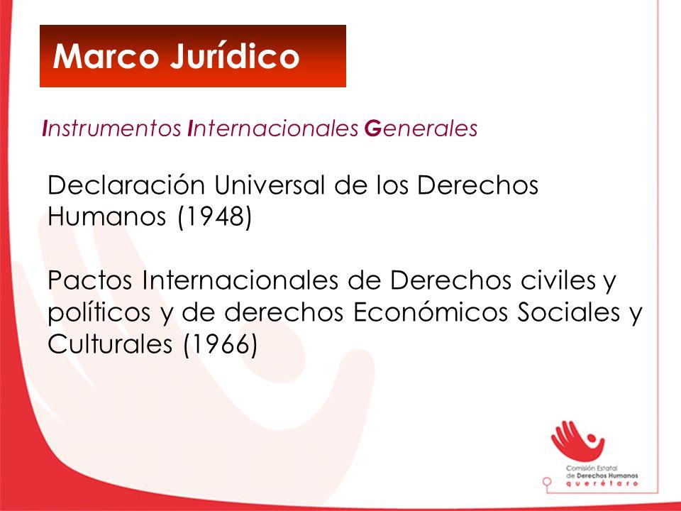 Marco Jurídico Declaración Universal de los Derechos Humanos (1948) Pactos Internacionales de Derechos civiles y políticos y de derechos Económicos So