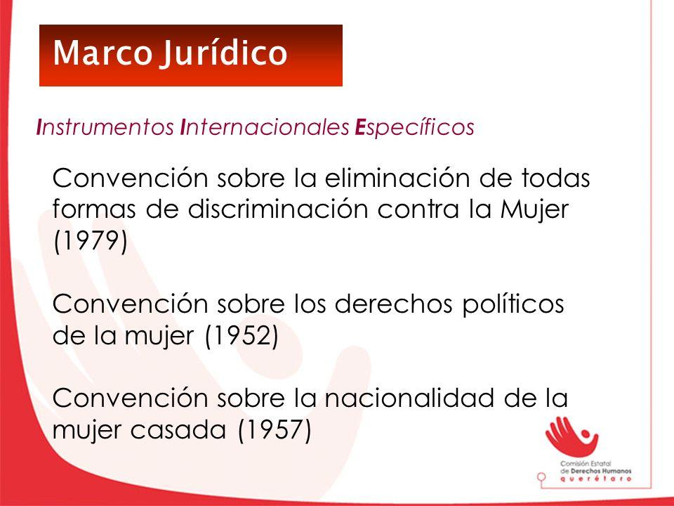 Marco Jurídico Convención sobre la eliminación de todas formas de discriminación contra la Mujer (1979) Convención sobre los derechos políticos de la
