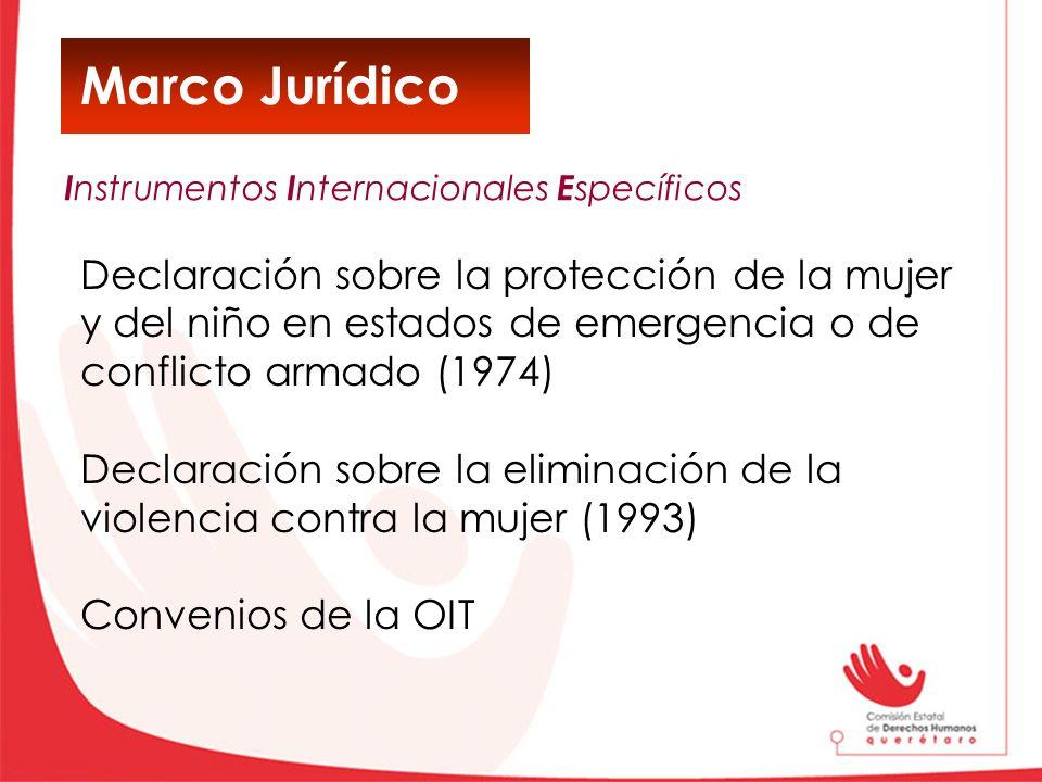 Marco Jurídico Declaración sobre la protección de la mujer y del niño en estados de emergencia o de conflicto armado (1974) Declaración sobre la elimi