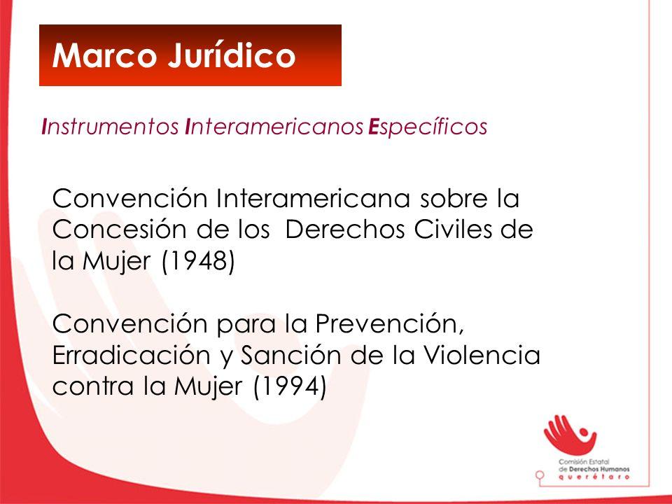 Marco Jurídico Convención Interamericana sobre la Concesión de los Derechos Civiles de la Mujer (1948) Convención para la Prevención, Erradicación y S