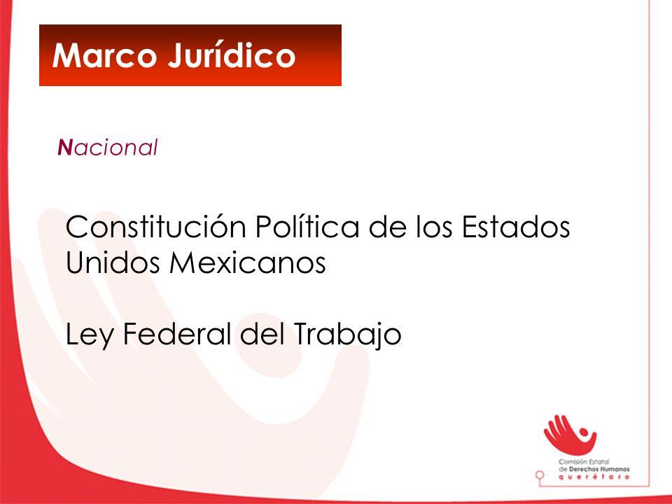 Marco Jurídico Constitución Política de los Estados Unidos Mexicanos Ley Federal del Trabajo N acional