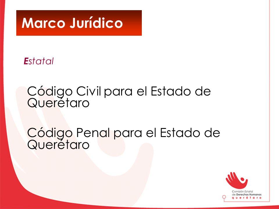 Marco Jurídico Código Civil para el Estado de Querétaro Código Penal para el Estado de Querétaro E statal