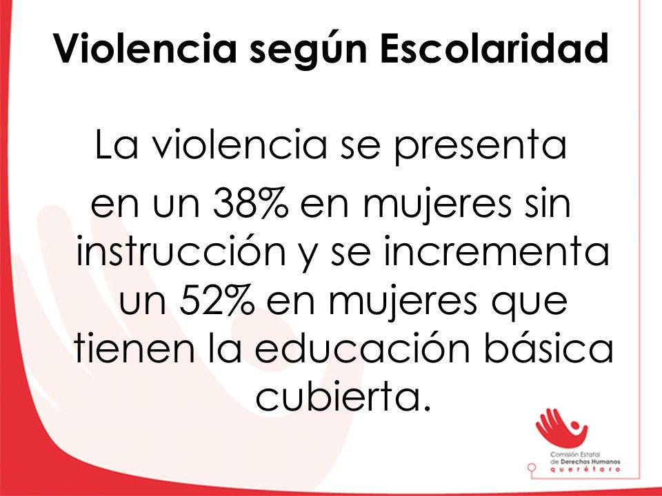 Violencia según Escolaridad La violencia se presenta en un 38% en mujeres sin instrucción y se incrementa un 52% en mujeres que tienen la educación bá
