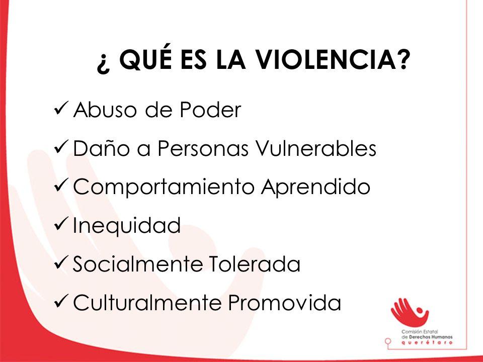 ¿ QUÉ ES LA VIOLENCIA? Abuso de Poder Daño a Personas Vulnerables Comportamiento Aprendido Inequidad Socialmente Tolerada Culturalmente Promovida