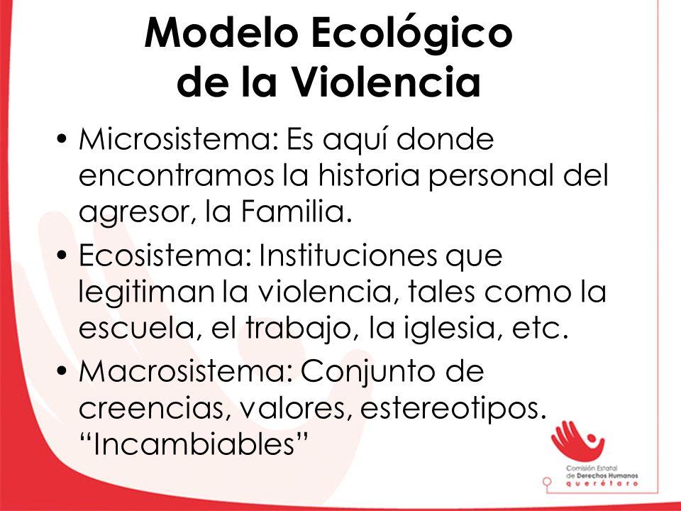 Modelo Ecológico de la Violencia Microsistema: Es aquí donde encontramos la historia personal del agresor, la Familia. Ecosistema: Instituciones que l