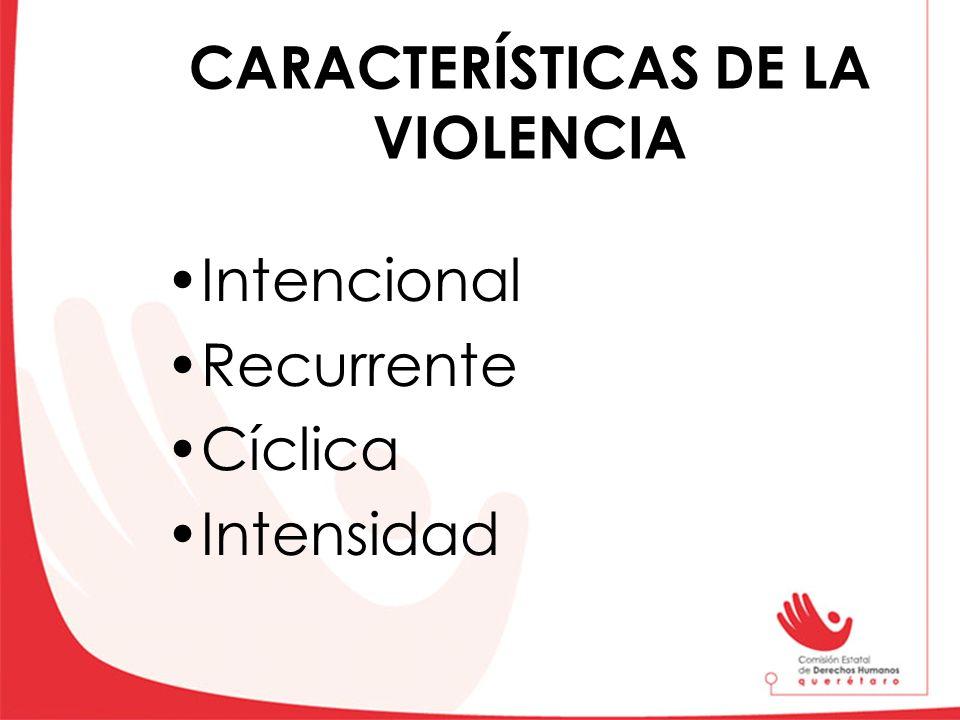 CARACTERÍSTICAS DE LA VIOLENCIA Intencional Recurrente Cíclica Intensidad