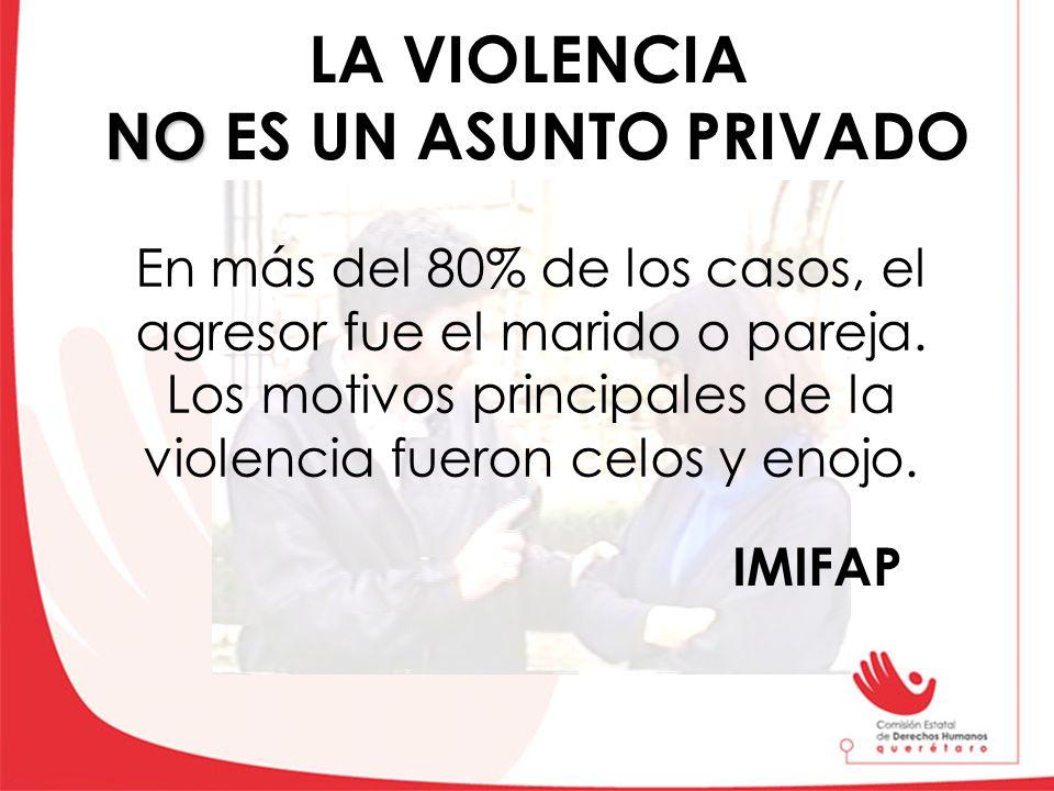 NO LA VIOLENCIA NO ES UN ASUNTO PRIVADO En más del 80% de los casos, el agresor fue el marido o pareja. Los motivos principales de la violencia fueron
