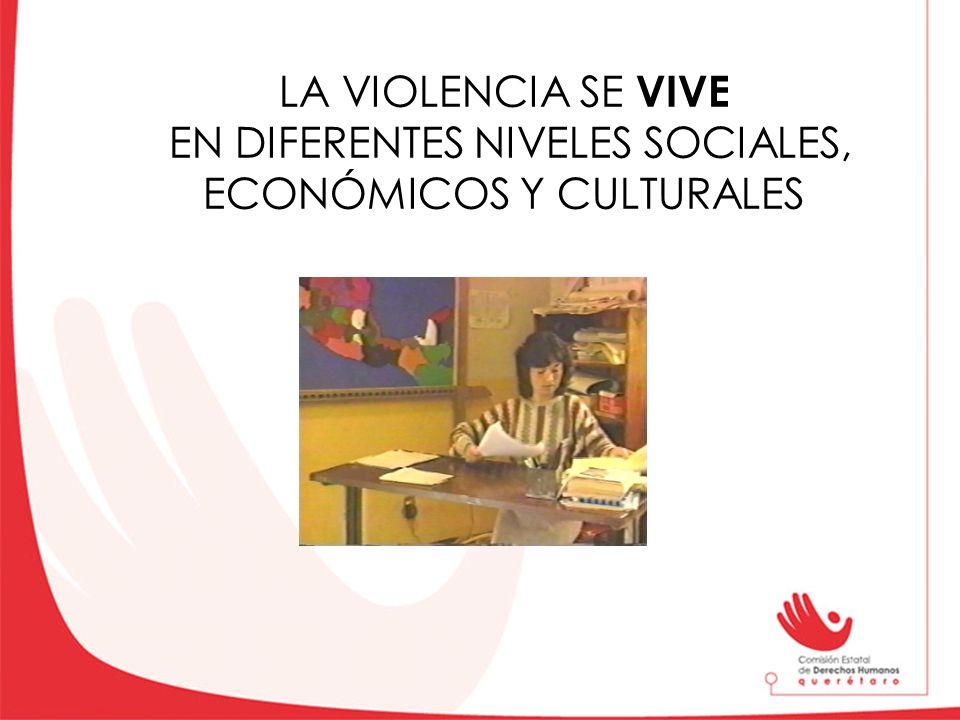 LA VIOLENCIA SE VIVE EN DIFERENTES NIVELES SOCIALES, ECONÓMICOS Y CULTURALES