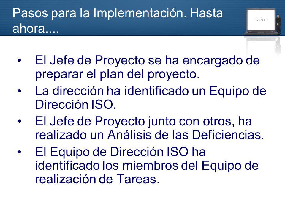 ISO 9001 Pasos para la Implementación. Hasta ahora.... El Jefe de Proyecto se ha encargado de preparar el plan del proyecto. La dirección ha identific