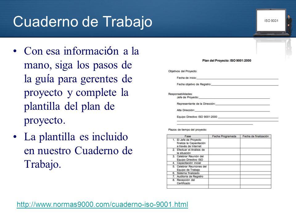ISO 9001 Con esa informaci ó n a la mano, siga los pasos de la gu í a para gerentes de proyecto y complete la plantilla del plan de proyecto. La plant