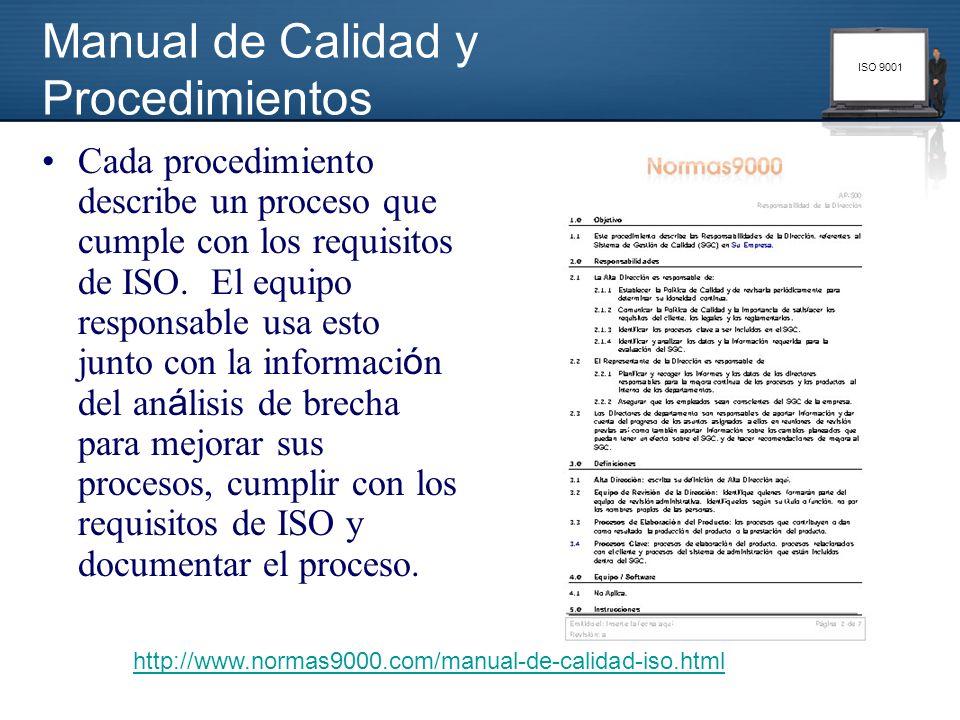 ISO 9001 Cada procedimiento describe un proceso que cumple con los requisitos de ISO. El equipo responsable usa esto junto con la informaci ó n del an