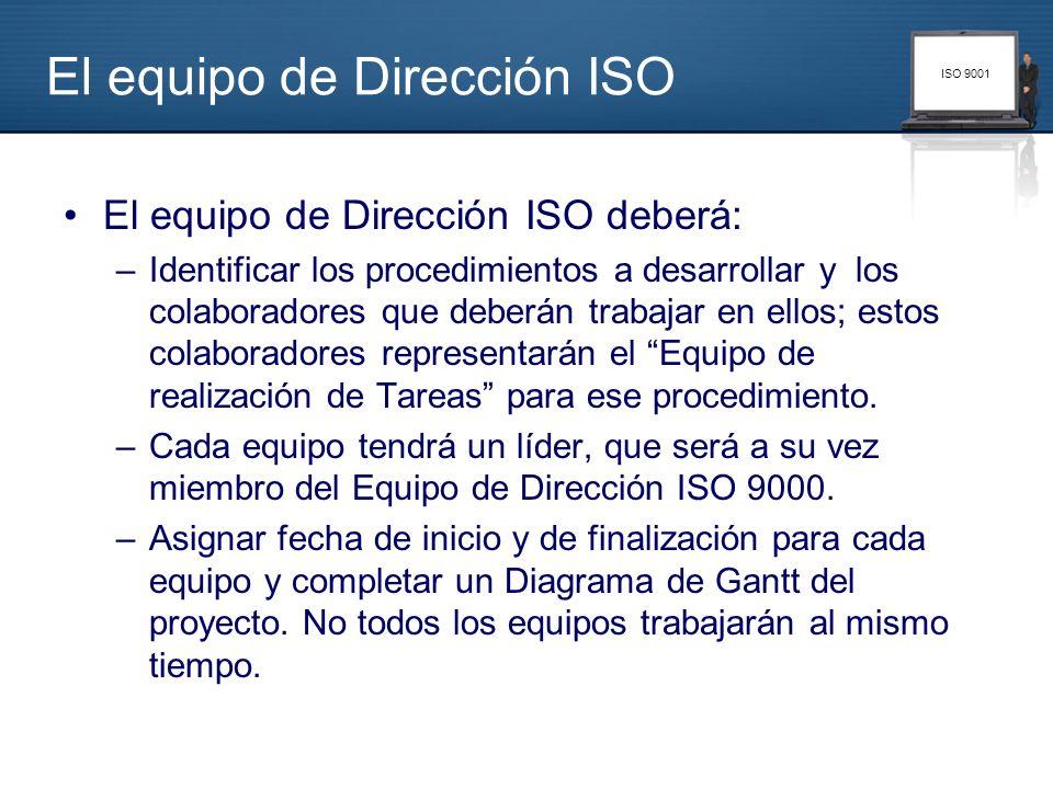 ISO 9001 El equipo de Dirección ISO El equipo de Dirección ISO deberá: –Identificar los procedimientos a desarrollar y los colaboradores que deberán t