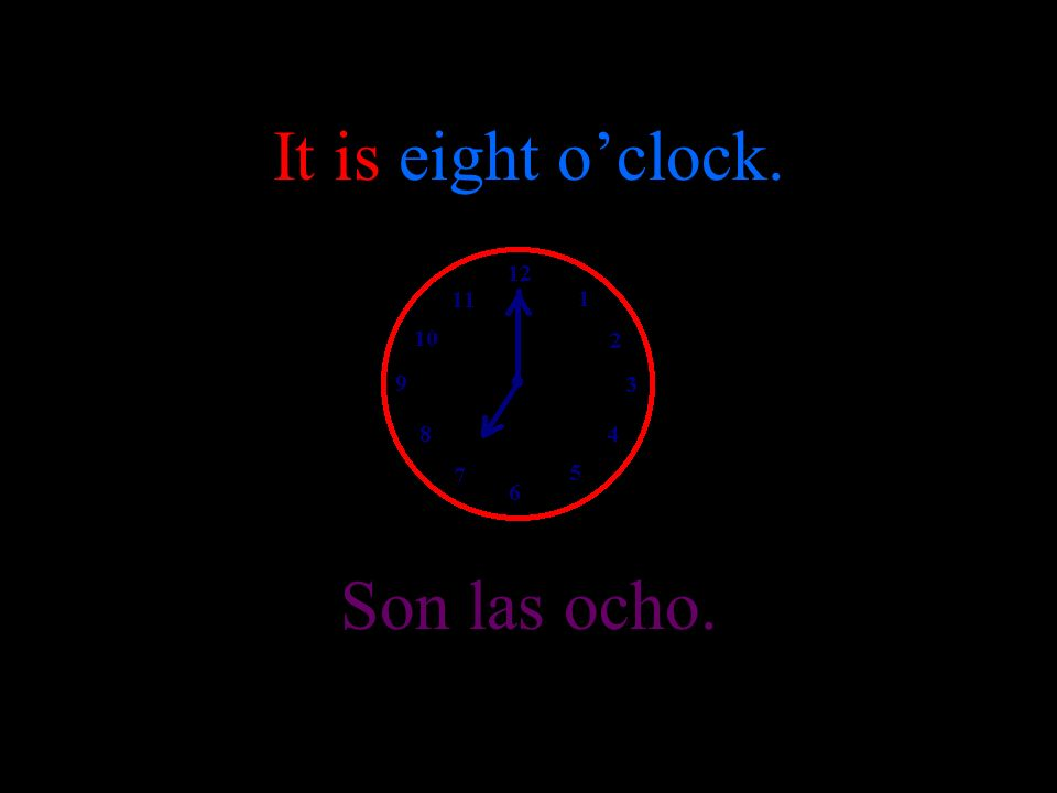 It is seven oclock. Son las siete.