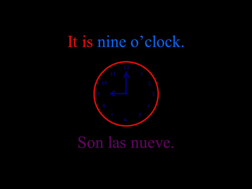 It is eight oclock. Son las ocho.