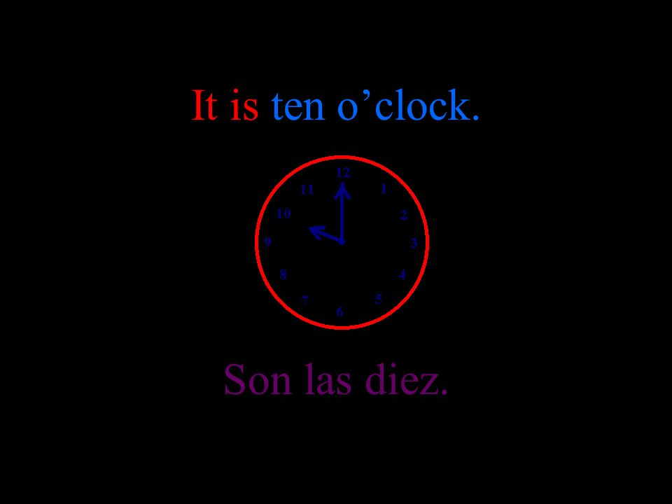 It is nine oclock. Son las nueve.