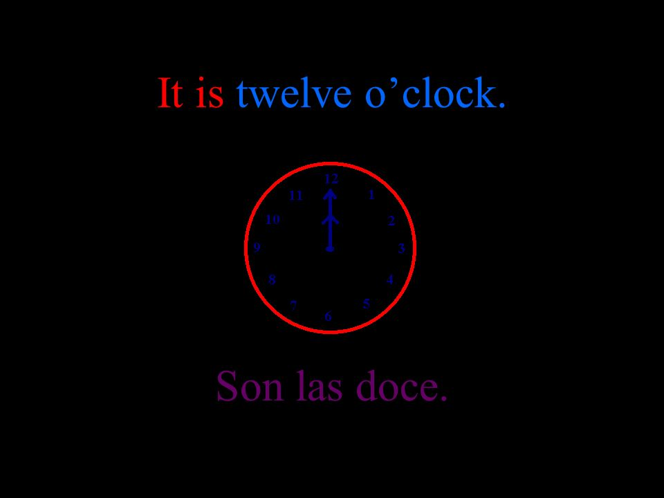 It is eleven oclock. Son las once.