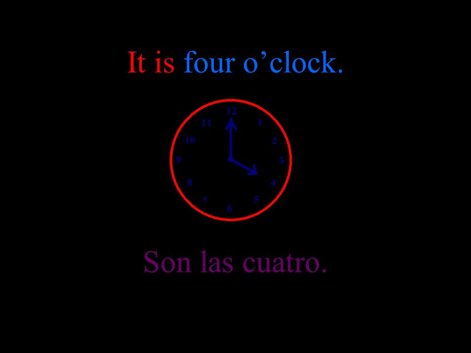 It is three oclock. Son las tres.