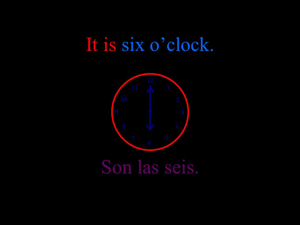 It is five oclock. Son las cinco.