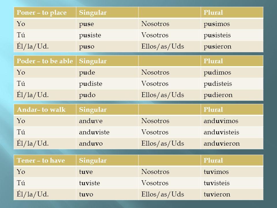 Poner – to placeSingularPlural Yop us eNosotrosp us imos Túp us isteVosotrosp us isteis Él/la/Ud.p us oEllos/as/Udsp us ieron Poder – to be ableSingul