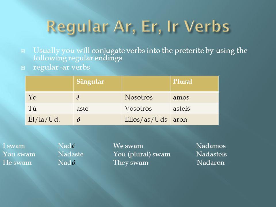 Usually you will conjugate verbs into the preterite by using the following regular endings regular -ar verbs SingularPlural Yo é Nosotrosamos TúasteVo